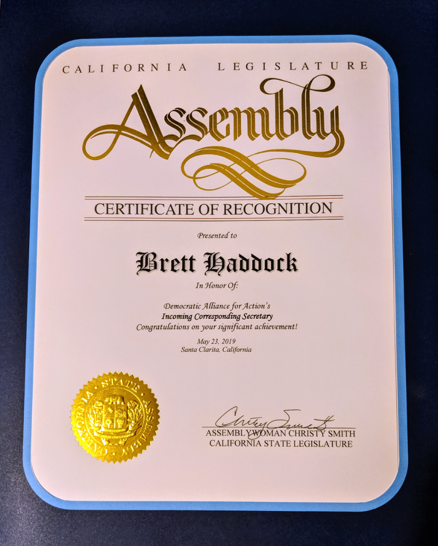 California Assembly Certificate of Recognition